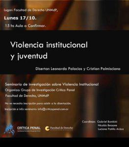 flyer violencia institucional y juventud