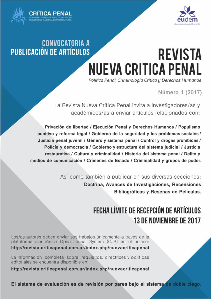 Convocatoria Artículos Revista Nueva Crítica Penal